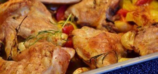 рецепт курицы с овощами в духовке